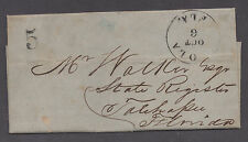 """**US 19th Cent Stampless Cover, Ocola """"Ocala"""" FL 10/6/1852, F/L """"Land"""""""