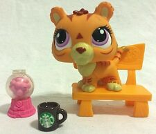 Littlest Pet Shop Tiger #3593 with Purple Eyes and Starbucks, Gumball Machine...