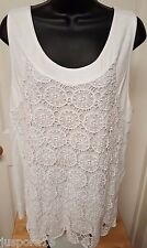 Ann Taylor NWT Woman's White w/ Design Lace Cover Front Sleeveless Shirt Size XL