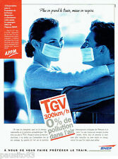 PUBLICITE ADVERTISING 026  1996  Sncf  train TGV  pollution A.P.P.M