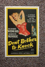 Dont Bother to Knock Lobby Card Movie Poster Marilyn Monroe Richard Widmark