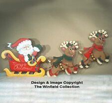 NEW HAND MADE,  MICE IN SLEIGH & DOG AS REINDEER CHRISTMAS YARD ART DECORATION