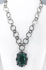 CARA Accessories Hematite-Tone CRYSTAL Pendant Long Circle Link Chain Necklace