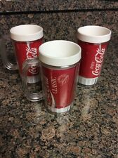 Lot of 3 VTG Coca-Cola Clear insulated Plastic Mugs Cups 16 oz coke