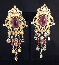 ULTRA RARE KIRKS FOLLY Earrings Crown With Pearls Purple Cabochon & Crystals 11C