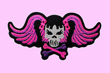 Lady Rider Bad Girl Pink Skull Cross Bone Jacket Biker Iron On Embroidered Patch