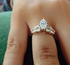 14K Solid Yellow marquies Cut Man Made Diamond Engagement Ring