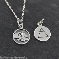 Tiny AIR Elements Charm Necklace - 925 Sterling Silver - Cloud Doubled Sided NEW