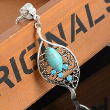 1PC Women Boho Turquoise Rhinestone Leaf Pendant Necklace Hollow Pattern