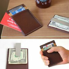 Leather Money Clip Business Card Case Sub Money Clip Credit Card Wallet Holder