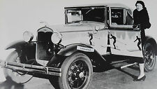 """12 By 18"""" Black & White Picture Ford 1930 -1931 Cabriolet with wild paint job"""