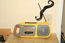 Vintage Sony CFM-104 Yellow Cassette Tape Player Stereo Boombox Sports Radio