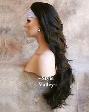 DARK BROWN 3/4 Wig Fall Hairpiece Long Wavy Half Wig Layered XL Hair Piece #4