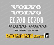 VOLVO EC20B DIGGER COMPLETE DECAL STICKER SET WITH SAFETY WARNING DECALS