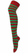 Ladies Women's Striped Stripey Over The Knee Thigh High Colourful Long Socks 4-6