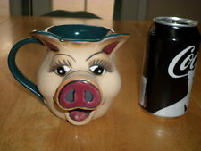 HANDMADE & PAINTED (3-D) IMAGE OF GIRL PIG FACE, Pottery Coffee Cup / Mug, Vint.