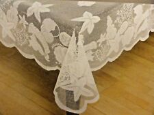 """NWT White Crochet Sea Shell LACE Looking DOILY~TABLECLOTH 60"""" x 84"""" Rectangle"""