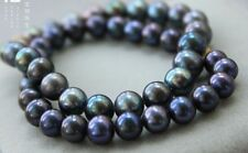 "Charming AAA 18""10-11mm genuine tahitian black pearl necklace"