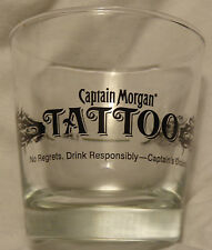 Captain Morgan Tattoo Heavy Based Rocks - Drink Glass...Clear Glass...NEW