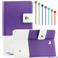 "For Samsung Galaxy Tab 4 7 7"" Tablet Folio Hybrid Case Cover Stand SMT230 Purple"