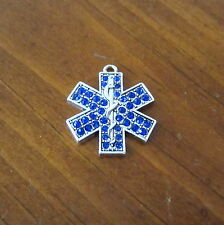 STAR OF LIFE EMT EMS SYMBOL BLUE CRYSTAL PEWTER CHARM paramedic bead jewelry