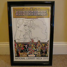 "PETER MAX VINTAGE POSTER--NATIONAL LIBRARY WEEK - 1970 -  FRAMED -12 ""  X 18 """