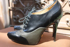L.A.M.B. womens shoes boots GREEN Black Lace Up OXFORD Pointed Toe High Heel 10