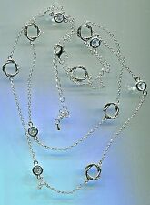 "RHODIUM PLATED 6.25 CARAT TW 36"" TO 39"" CZ BY THE YARD & LOVE KNOT NECKLACE"
