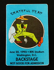 Grateful Dead Backstage Pass Shakedown Street Sam 6/20/1992 RFK DC Casey Jones !