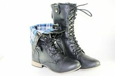 Women Combat Boots Mid Calf Fashion shoe Folding Plaid Lining Style Black Tan BR