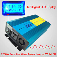 LCD Display Pure Sine Wave power inverter 1200W Peak 2400W DC 12V TO AC 220V
