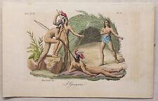 Südamerika Guyana Kupferstich um 1825 Migliavacca handkoloriert Grafik Trachten