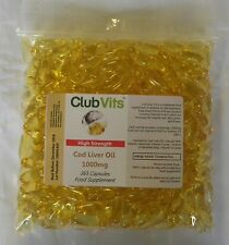 Club Vits - High Strength Cod Liver Oil 1000mg - 365 Capsules - Grip Seal Bag