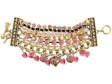 BETSEY JOHNSON Pinkalicious multi row Heart Toggle bracelet Pink Crystal New NWT
