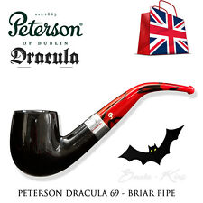 PETERSON OF DUBLIN DRACULA 69 BRIAR SMOKING PIPE  RED - BLACK - SMOOTH - TOBACCO