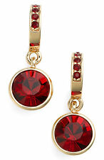 GIVENCHY Siam Red Crystal Gold-Tone Round Drop C Hoop Earrings