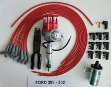 FORD 289-302 Red Small HEI Distributor+45K Coil+UNIVERSAL SPARK PLUG WIRE 45-Cri