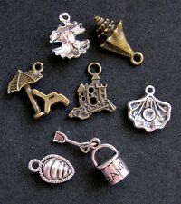 7 pcs Beach Charm Set SandCastle SeaShell Silver Bronze Sand Bucket Shovel Ocean