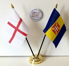 England & Madeira Double Friendship Table Flags & Badge Set
