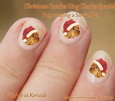 CAVALIER KING CHARLES SPANIEL Christmas Santa Hat Dog Nail Art Stickers Decals