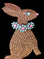 PRONG SET BROWN RHINESTONE SPRING CHOCOLATE EASTER BUNNY RABBIT PIN BROOCH 3+""