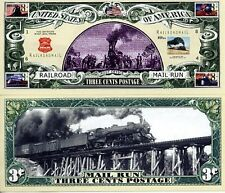 RailRoad Mail Run 3 Cent Bill Collectible Funny Money Novelty Note