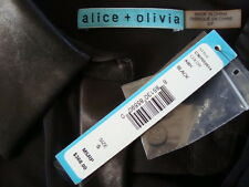 NWT$368 ALICE+OLIVIA Leather Collar & Front Trim 3/4 Sleeve Blouse Shirt Sz S
