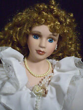 "Top Source Porcelain Victorian Doll Beautiful 21"" wearing Faux-Pearls 1/2000"