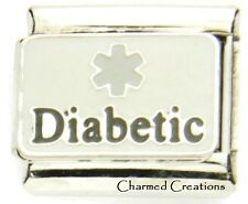9mm Italian Charm Diabetic Gray Diabetes Medical Alert Modular Link