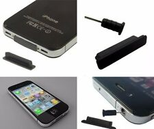 4x Apple iPhone 4,4S,4GS Anti-Dust Plug Stopper Set AUX Charger Black BNIB