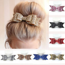 Women Girls Hairpin Bowknot Barrette Crystal Hair Clip Bow Accessories Yellow