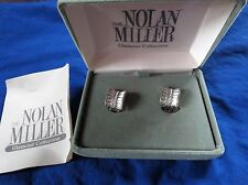 Nolan Miller Clip Earrings Glamour Collection Clear White Crystal With Box