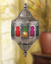 Rustic Moroccan Hanging Candle Lantern Colorful Home Decor Elegant Rainbow Style