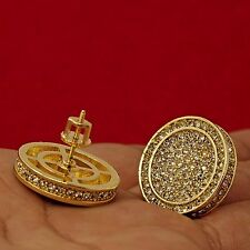 Men's Hip Hop Iced Out XL Large Round Circle Flat Screen Screw Back Stud Earring